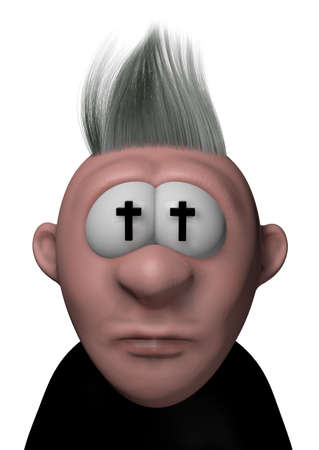 christian crosses: cartoon guy with christian crosses in his eyes - 3d illustration Stock Photo