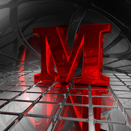 uppercase: red uppercase letter m in futuristic space - 3d illustration