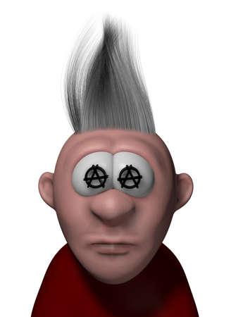 merrily: punk cartoon guy with anarchy symbols - 3d illustration