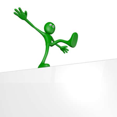 balances: cartoon guy balances on white board - 3d illustration
