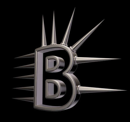 prickles: letter b with metal prickles on black background - 3d illustration Stock Photo