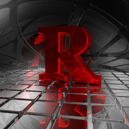 uppercase: red uppercase letter r in futuristic space - 3d illustration Stock Photo