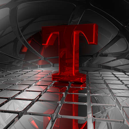 uppercase: red uppercase letter t in futuristic space - 3d illustration