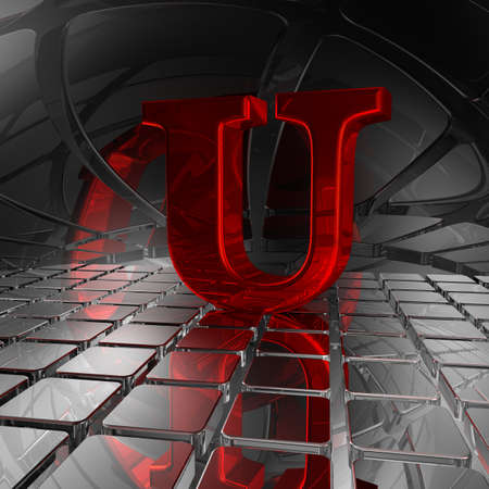 uppercase: red uppercase letter u in futuristic space - 3d illustration Stock Photo