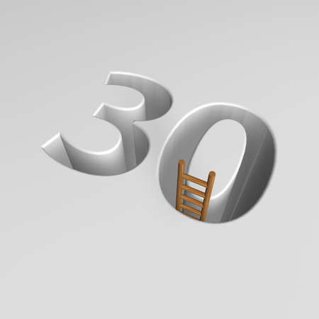 ascended: number thirty shape hole with ladder - 3d illustration