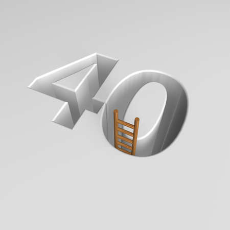 ascended: number forty shape hole with ladder - 3d illustration