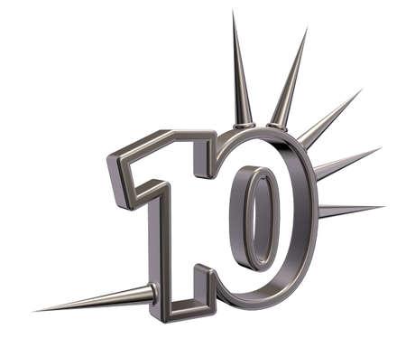 number ten: n�mero diez, con espinas en el fondo blanco - 3d ilustraci�n Foto de archivo