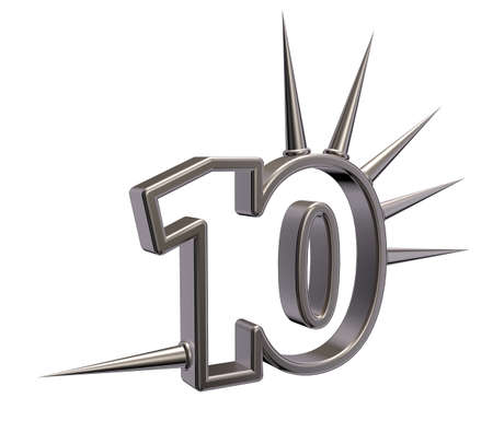 number ten: number ten with prickles on white background - 3d illustration