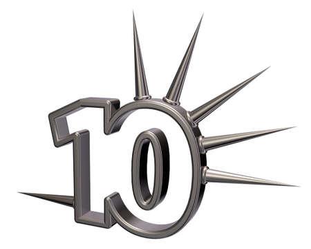 numero diez: número diez, con espinas en el fondo blanco - 3d ilustración Foto de archivo