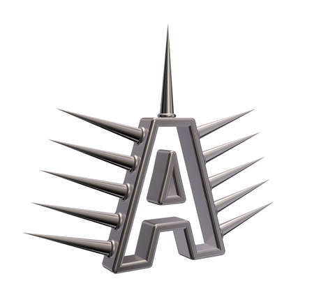 prickles: letter a with metal prickles on white background - 3d illustration Stock Photo