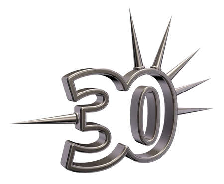 thorny: number thirty with prickles on white background - 3d illustration