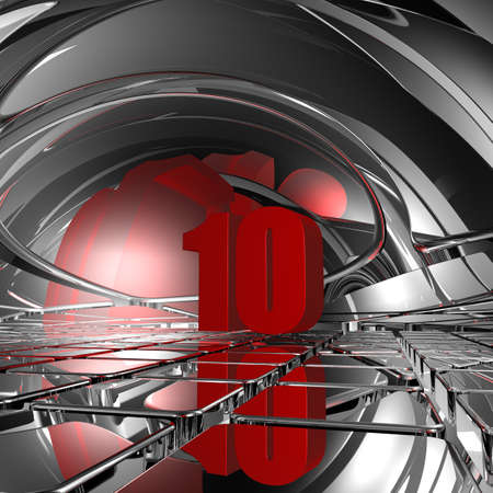 number ten: red number ten on chrome tiles - 3d illustration