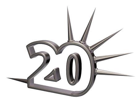 twenty: number twenty with prickles on white background - 3d illustration