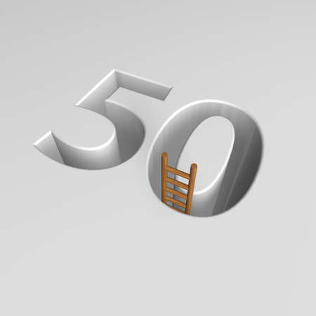 ascended: number fifty shape hole with ladder - 3d illustration