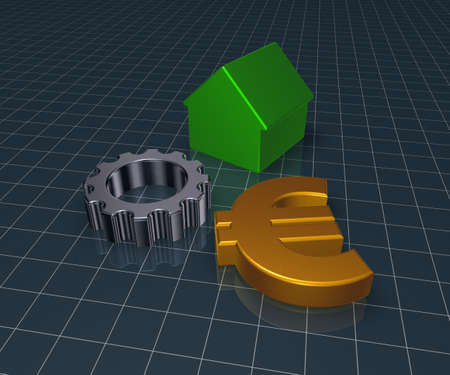 wheel house: eurosymbol, house and gear wheel - 3d rendering