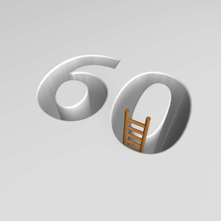 ascended: number sixty shape hole with ladder - 3d illustration