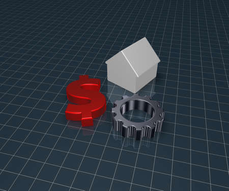 wheel house: house, gear wheel and dollar symbol - 3d illustration