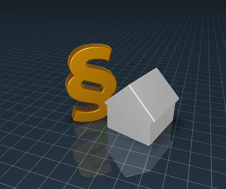 tenancy: paragraph symbol and house - 3d illustration