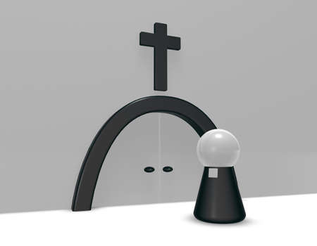 clergy: simple pastor figure and christian cross symbol - 3d illustration