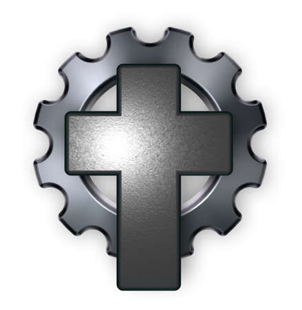 technics: christian cross and gear whee on white backgroundl - 3d rendering Stock Photo