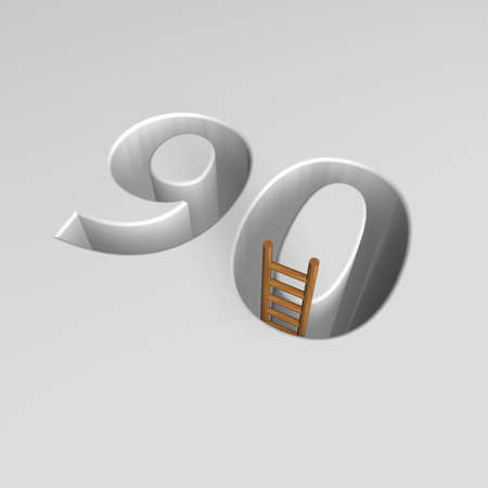 ascended: number ninety shape hole with ladder - 3d illustration