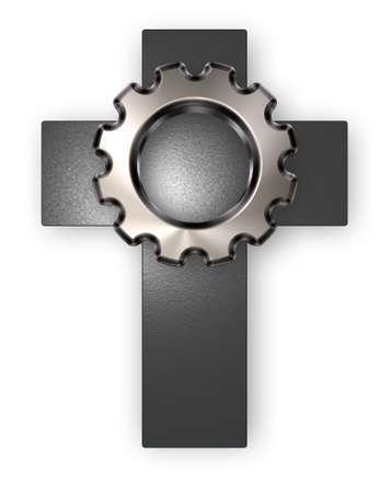 3d rendering wheel: christian cross and gear wheel on white backgroundl - 3d rendering