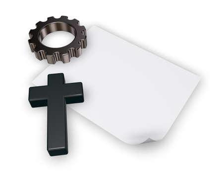 3d rendering wheel: christian cross, blank paper sheet and gear wheel on white backgroundl - 3d rendering Stock Photo