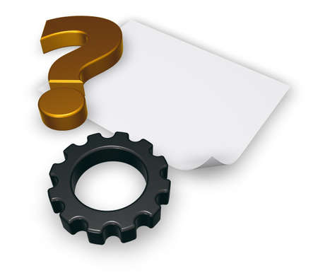 3d rendering wheel: gear wheel, blank paper sheet and question mark on white background - 3d rendering Stock Photo