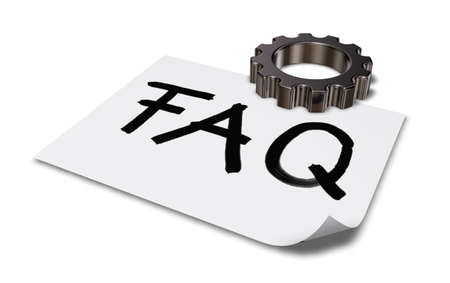 general knowledge: the word faq on paper sheet and gear wheel on white background - 3d rendering