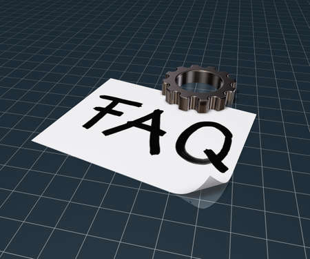 general knowledge: the word faq on paper sheet and gear wheel - 3d rendering