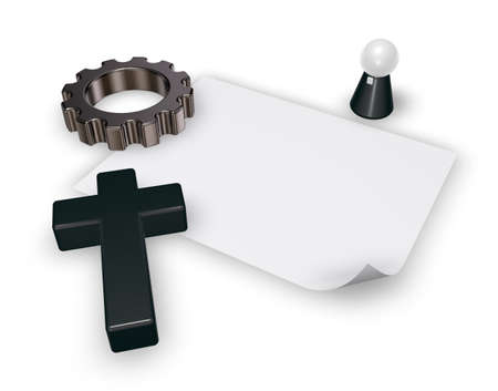 pope: christian cross, pope figure, blank paper sheet and gear wheel on white backgroundl - 3d rendering