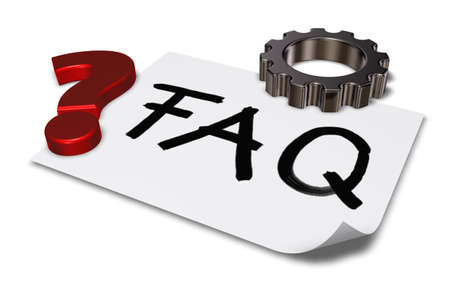 3d rendering wheel: the word faq on paper sheet, question mark and gear wheel - 3d rendering Stock Photo