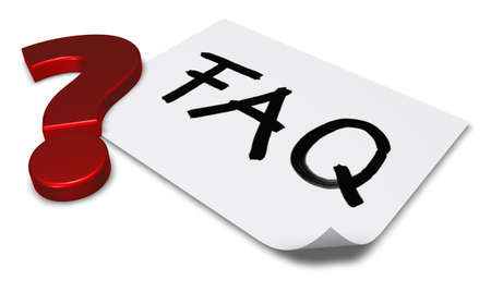 general knowledge: the word faq on paper sheet and question markl - 3d rendering Stock Photo