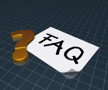 general knowledge: the word faq on paper sheet and question mark - 3d rendering