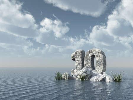 ten years jubilee: number ten rock at water - 3d illustration