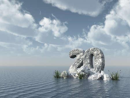 twenty: number twenty rock at water - 3d rendering