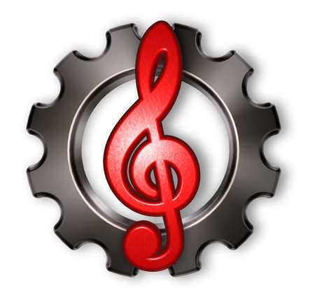 3d rendering wheel: gear wheel and clef on white background - 3d rendering