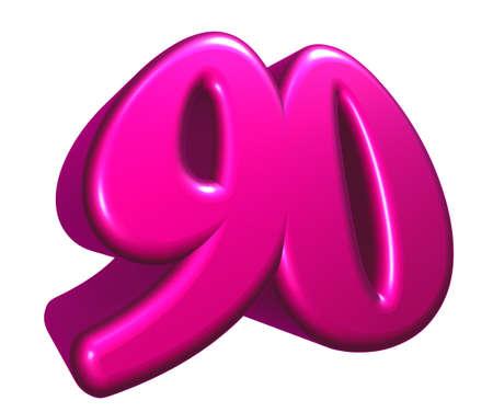 ninety: cartoon number ninety on white background - 3d rendering Stock Photo