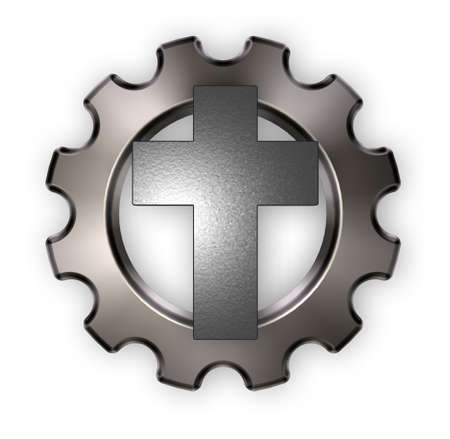 gear symbol: christian cross and gear wheel on white backgroundl - 3d rendering