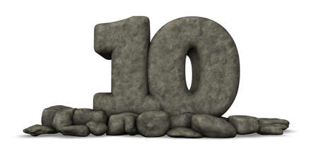 numero diez: piedra número diez en fondo blanco - 3d prestación