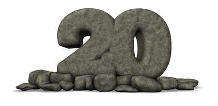 twenty: stone number twenty - 3d rendering