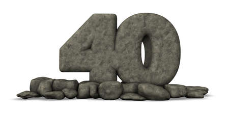 forty: stone number forty on white background - 3d rendering