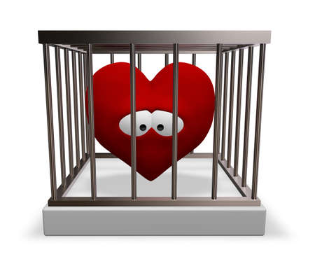 prisoner of love: metal cage with red sad heart inside - 3d rendering