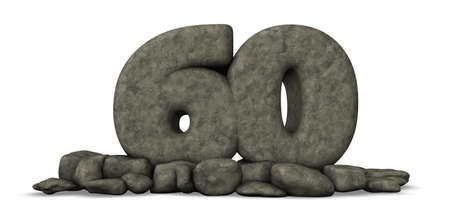 sixty: stone number sixty on white background - 3d rendering