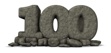 one hundred: stone number one hundred on white background - 3d rendering Stock Photo