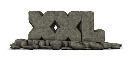 superlative: stone letters xxl on white background - 3d rendering Stock Photo