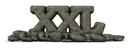 enormous: stone letters xxl on white background - 3d rendering Stock Photo
