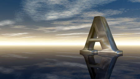 cloudy sky: metal uppercase letter a under cloudy sky - 3d illustration Stock Photo