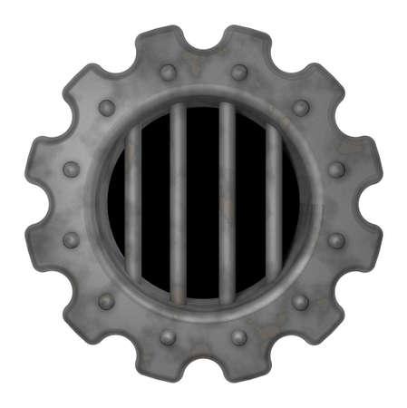 lockup: gear wheel prison window - 3d rendering