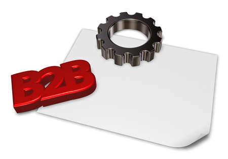 b2b: etiqueta b2b y rueda dentada - 3d prestación